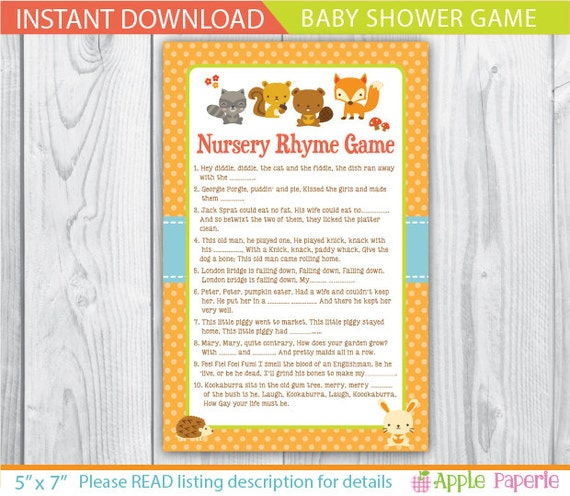 baby shower games nursery rhyme quiz nursery rhyme game baby