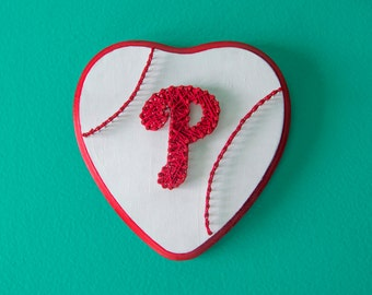 String Art- Phillies- Heart- Custom Baseball Logo