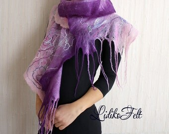 Felted Wool Cobweb Ruffle Scarf Shawl Wrap PINK PURPLE