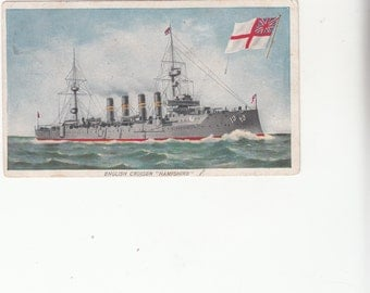 "1908 British Military Cruiser ""Hampshire"", Naval Ship,Stats On Reverse Side"