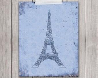 75% OFF SALE - 8x10 Printable Art, Eiffel Tower, French Art, France, Paris, Vintage, Wall Art