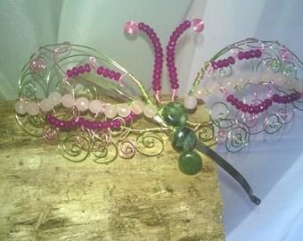 OOAK Butterfly Fascinator  HairBand with Rose Quartz, Fuschia Quartz and Jade Tiara Boho Woodland