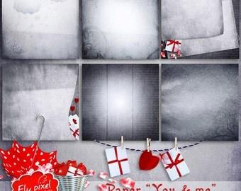 You & Me - Digital Scrapbook Papers - F017 - Instant Download