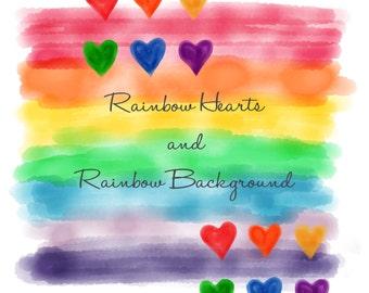 Rainbow clip art, heart clipart, digital rainbows, watercolor illustration scrapbook, square paper, commercial use ok, hand drawn graphic
