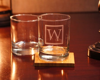 Custom Whiskey Glasses - Set of 2 Personalized Whiskey/Bourbon/Scotch Glasses. Custom sand carved 11 oz. Rocks Glass. Mens Gift
