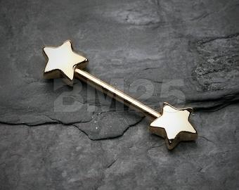 Golden Star Nipple Barbell Ring