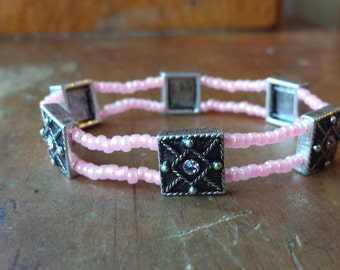 Pink seed bead bracelet, strech bracelet, Swarovski beaded bracelet