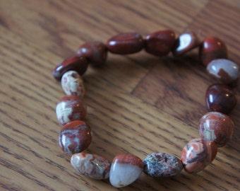 Vintage  Handcrafted Bracelet of mixed Real stones Natural Bracelet Red Brown O-0075