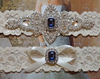 Wedding Garter,Bridal Garter, Ivory Lace Wedding Garter,Navy Rhinestone  Garter, Vanessa Style 10721