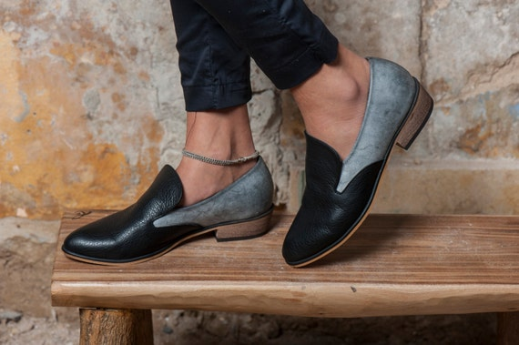 Black Leather Flat Shoes / Women Shoes / Every Day Shoes / Grey Leather Shoes / Comfortable Shoes / Wooden Heels Shoes - Kiki