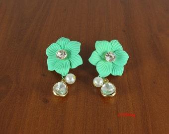 Sea green earrings, crystal earrings, bead earrings, flower earrings, dangle earrings, unique earrings, women earrings, LarkKing ER1160