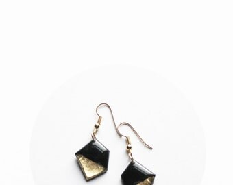 eco-friendly earrings black and gold earrings geometric earrings mother's day earrings simple earrings recycled earrings gift for her