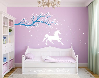 Unicorn Wall Decal Horse Decal Tree Branch Decal Frozen Wall Decal Magic Wall  Decal Unicorn Wall Art Unicorn Vinyl