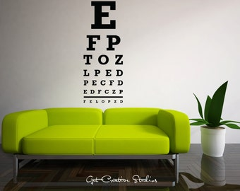 Eye Chart Decal Optometrist Wall Decal Sunglasses Decal Wayfarer Wall Decal Hipster Decor