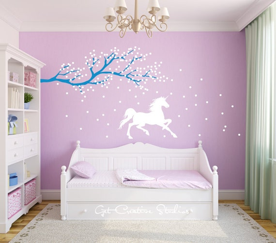 unicorn wall decal horse decal tree branch decal frozen wall. Black Bedroom Furniture Sets. Home Design Ideas