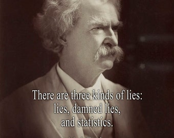 There are three kinds of lies: lies, damned lies, and statistics. - Mark Twain - Art Print Quote Home Decor