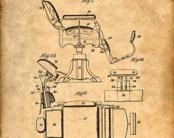 Barber's Chair Patent Print - Patent Art Print - Patent Poster - Barber Art - Barbershop - Barber Gift - Barber Print