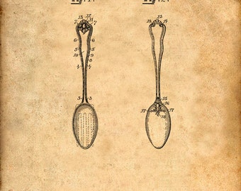 Patent Print of a Spoon Patent From 1895 - Art Print - Patent Poster - Kitchen Art - Kitchen Decor - Kitchen Poster - Dining Room Art