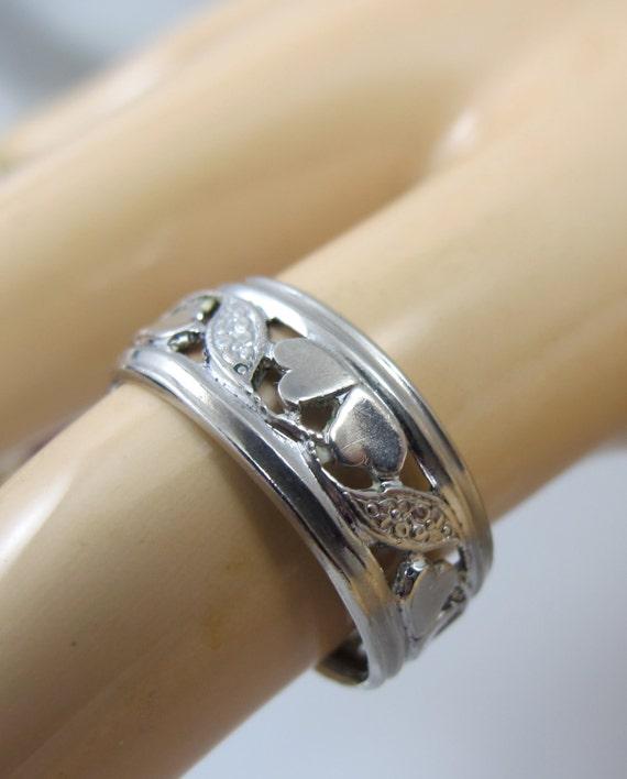 Vintage Art Nouveau Wedding Band Ring Sterling Pierced Open