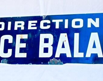 """Antique Enamel Paris Metro Sign """"Direction Place Balard"""""""