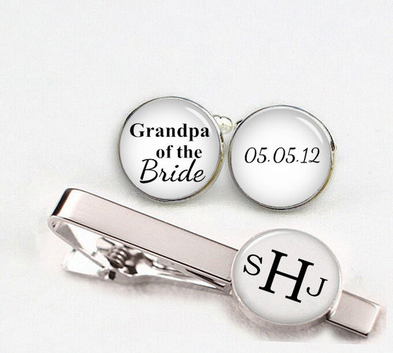 grandpa of the bride cuff links, custom personalized wedding cufflinks, round or square cufflinks & tie clips,custom name date photo initial