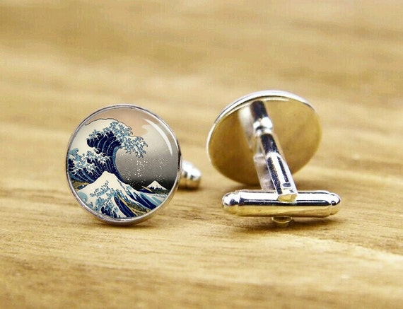 Great Wave Of Kanagawa Cufflinks, Japanese Sea, Custom Wedding Cufflinks, Groom Cufflink, Round, Square Cufflink, Tie Clip Or A Matching Set