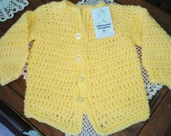 Yellow baby sweater for boys or girls. Fits 12 to 24 months. Unisex baby sweater.  Easter baby sweater. Spring baby sweater