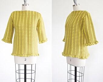 Doris sweater • vintage 1960s fringed knit sweaters • Pistachio 60s knit mod sweater