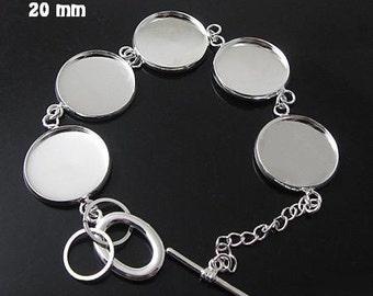 10pcs Bracelet Blanks, 16mm 18mm 20mm bezel Silver bracelet blanks (3010403)