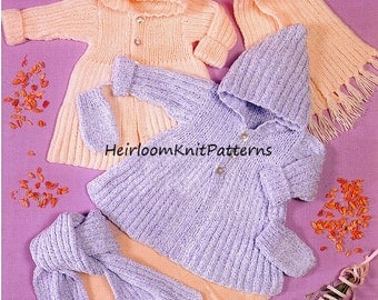 Hooded Coat Scarf Mitts Baby Knitting Pattern Baby Set Pattern Vintage DK/ Light Worsted/ 8ply Knitting Pattern Instant download PDF - 458