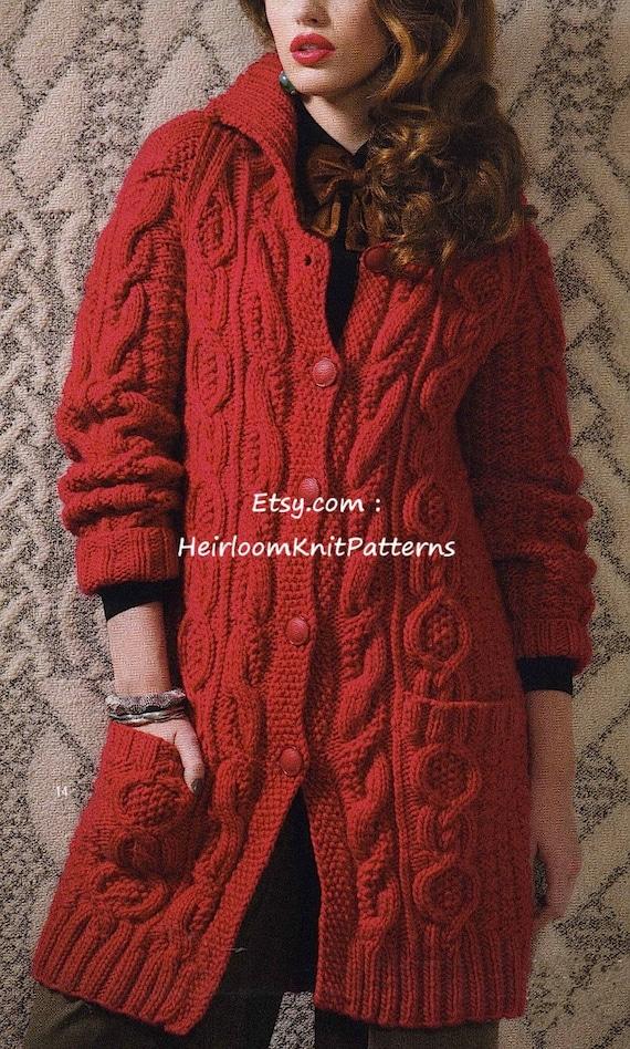 Aran Style Long Jacket Coat Knitting Pattern Chunky/ Bulky ...
