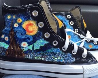 custom, hand-painted, Starry Night and Tardis Converse