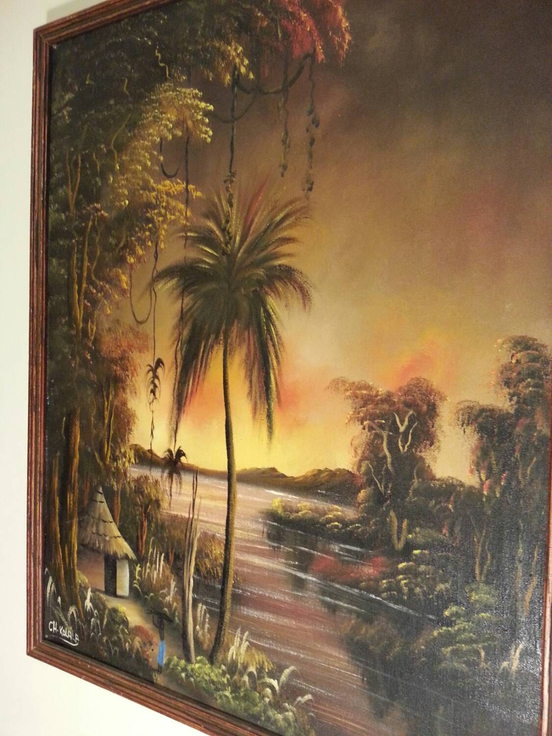 Ch Kalala Kenyan African Oil Painting On Stretched Canvas