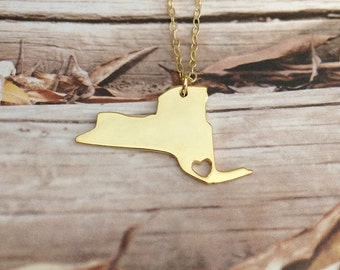 NY State Necklace,Gold New York State Necklace,New York State Shaped Necklace,Personalized NY Necklace,18k Gold State Necklace With A Heart