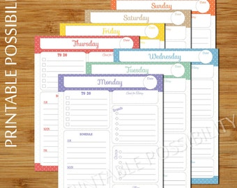 7 Printable Daily Planner Pages - Colorful Daily To Do List Planner Pages - To Do List Daily Plan - 8.5 x 11