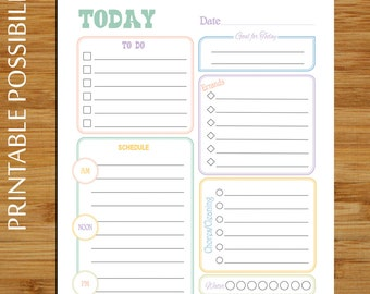 Printable Daily Planner - Pastel - Daily To Do List Planner Page - To Do List Daily Plan - 8.5 x 11 - Errands Cleaning Lists