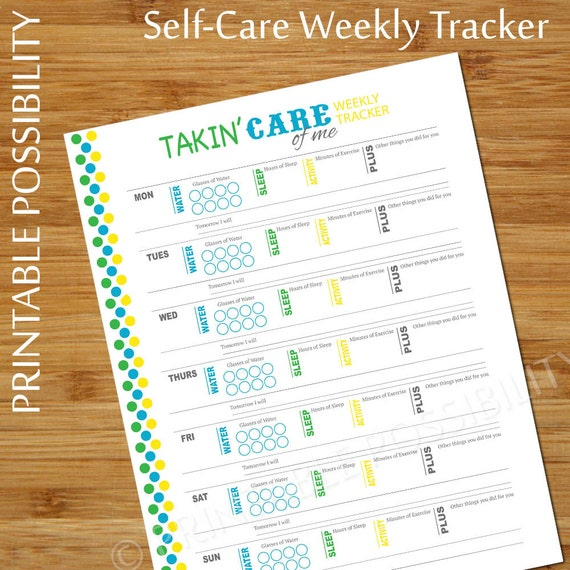 Self Care Tracker Weekly Personal Care Planner Page Water