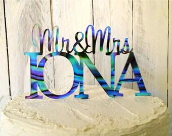 Mr&Mrs Paua design Cake Topper