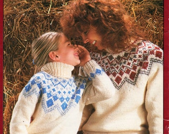 womens / girls chunky fair isle sweater knitting pattern 24-38 inch chunky / bulky womens knitting pattern PDF instant Download