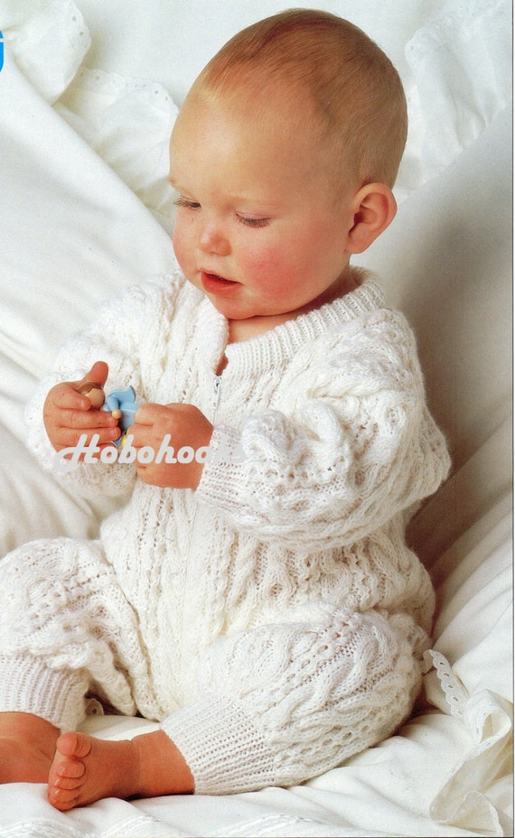 Knitted All In One Baby Suit Pattern : Baby all in one / sleepsuit in cable pattern 18 to by Hobohooks