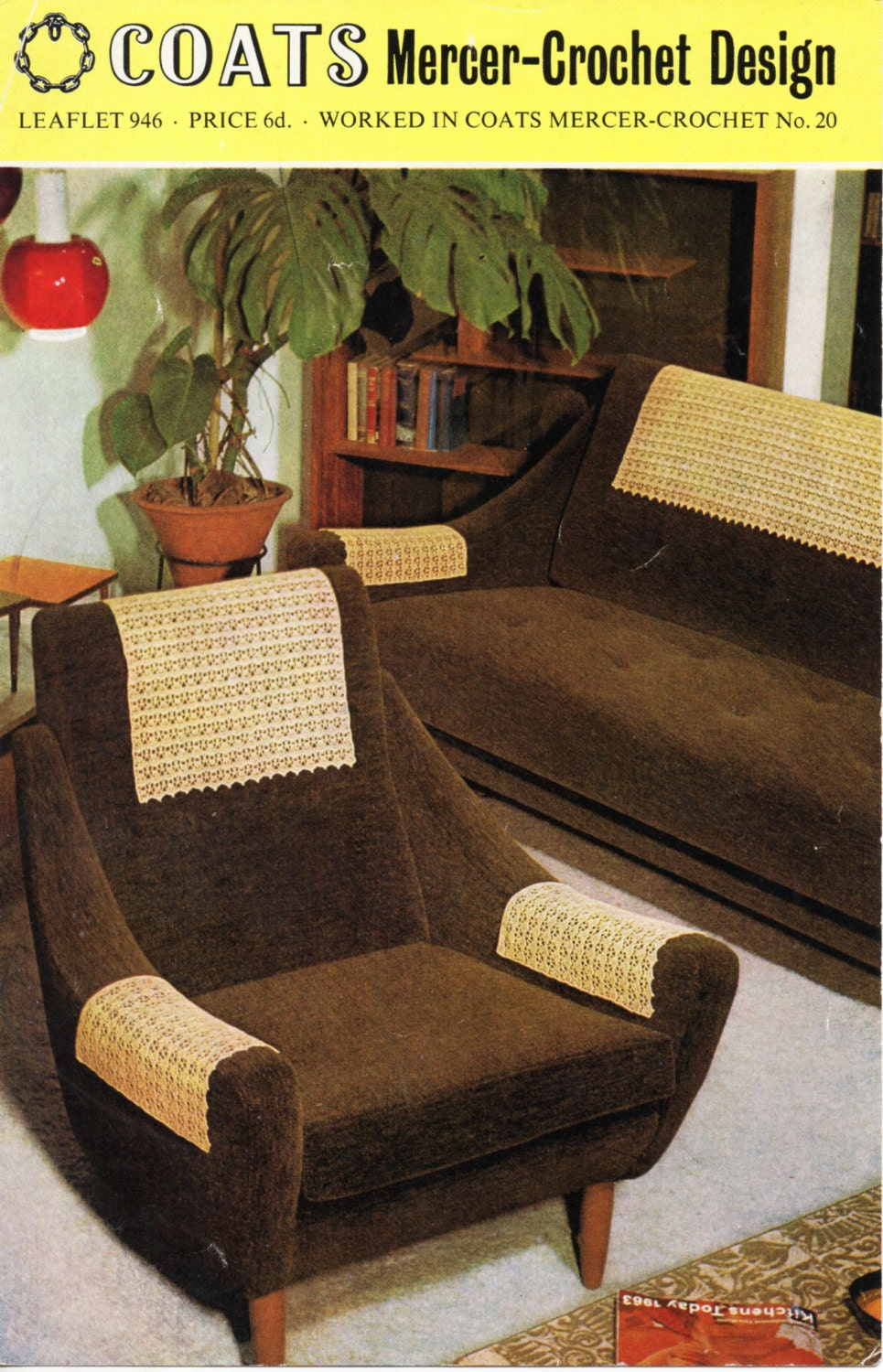 Vintage crochet pattern 1960s antimacassars crochet chair arm for Furniture covers patterns