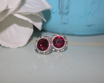 Ruby Crystal Post Earrings 13mm Chaton