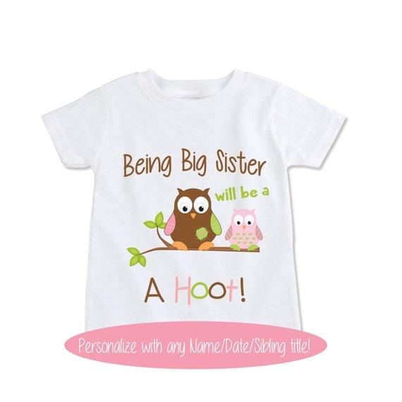 Big sister shirt girls owl birth announcement pregnancy by for Big sister birth announcement shirts