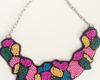Pink Beaded bib necklace - seed beads