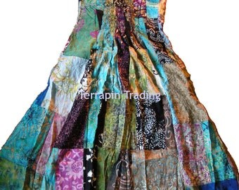 Fair Trade Patchwork Long Dress with Real Batik Patches by Terrapin (404)