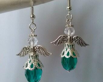 Guardian Angel Earrings , Teal Crystal Earrings , Teal Earrings , Silver Earrings , Protection , Gift , Handmade Jewelry
