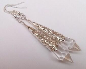 Silver Teardrop Earrings , Clear Earrings , Clear Teardrop , Silver Earrings , Handmade Jewelry , Art Deco Earrings , Bohemian Jewelry