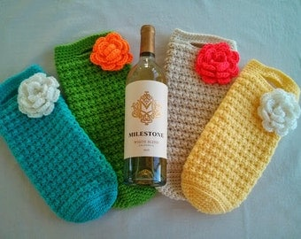 Wine Tote with Flower