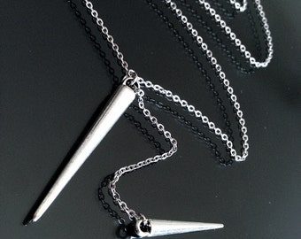 Silver Spike Lariat Necklace on Stainless Steel Chain