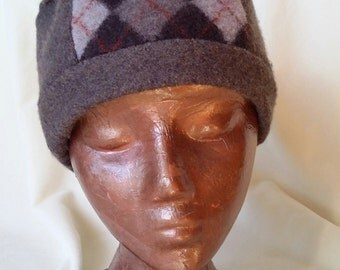 Felted wool hat from gently used 100% wool sweater